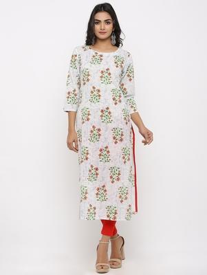 Women's White & Red Cotton Cambric Buta Print Straight Kurta