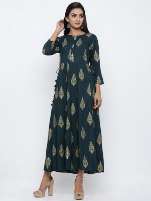 Women's Dark Green Rayon Mughal Print Anarkali Kurta