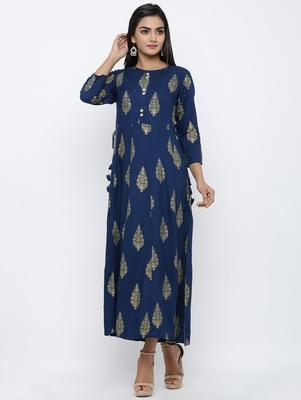 Women's Navy Blue Rayon Mughal Print Anarkali Kurta