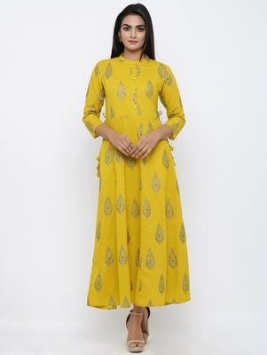 Women's Mustard Cotton Cambric Mughal Print Anarkali Kurta