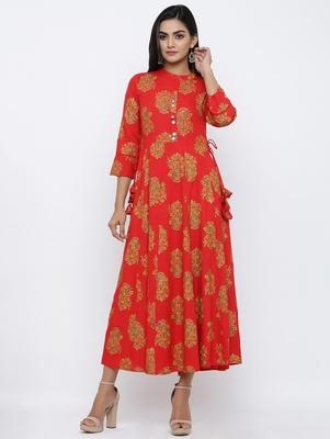 Women's Red Rayon Foral print Anarkali Kurta