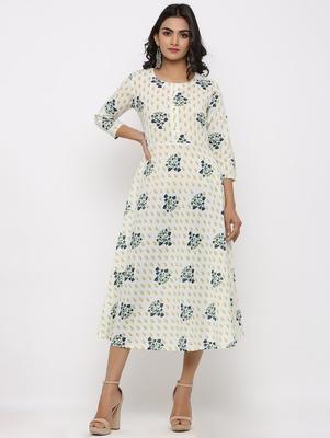 Women's White & Mustard Cotton Cambric Foral print Anarkali Kurta