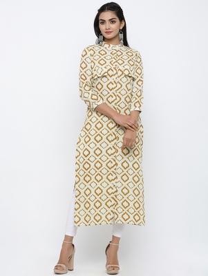 Women's Mustard Cotton Self Design Shirt Style Straight Kurta