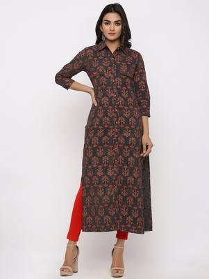 Women's Black Cotton Self Design Shirt Style Straight Kurta