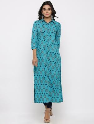 Women's Blue Cotton Self Design Shirt Style Straight Kurta