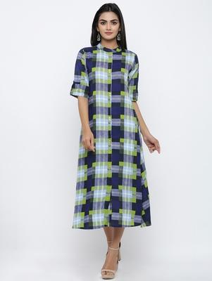 Women's Blue Rayon Checkered Print Shirt Style A-Line Kurta
