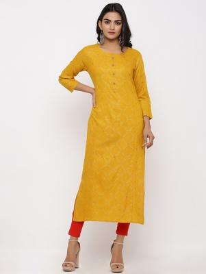 Women's Mustard Rayon Bandhani Print Straight Kurta