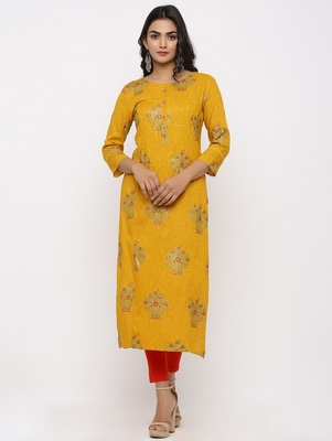 Women's Mustard Rayon Self Design Straight Kurta