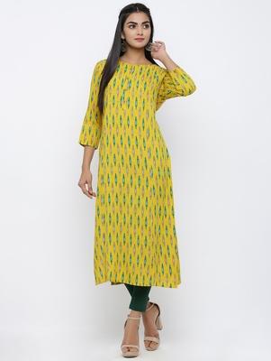 Women's Yellow Rayon Ikat Print Straight Kurta