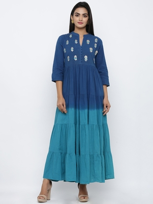 Women's Navy Blue Cotton Cambric Tye Dye Print Anarkali Kurta