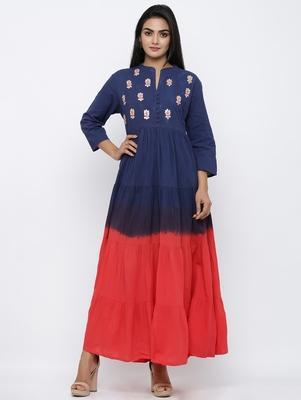Women's Red & Blue Cotton Cambric Tye Dye Print Anarkali Kurta