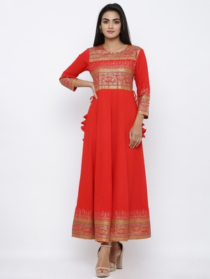 Women's Red Cotton Cambric Gold Print Anarkali Kurta