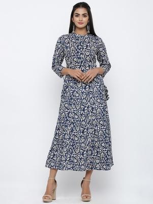 Women's Navy Cotton Cambric Applique Anarkali Kurta