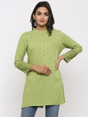 Women's Parrot Green Rayon Applique Straight Tunic Kurti