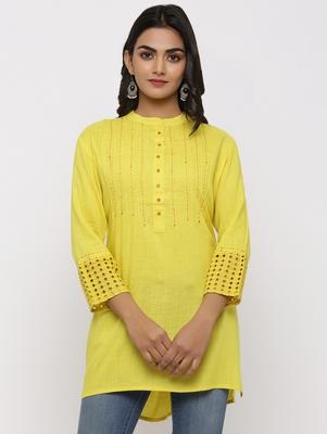 Women's Yellow Rayon Applique Straight Tunic Kurti