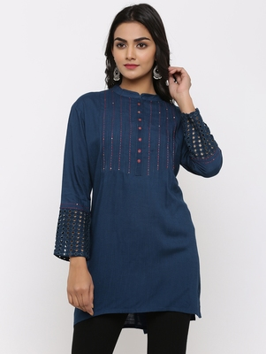 Women's Teal Rayon Applique Straight Tunic Kurti