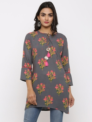 Women's Grey Rayon Buta Print Mirror Work Straight Tunic Kurti
