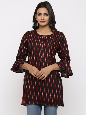 Women's Black Rayon Ikat Print Mirror Work Straight Tunic Kurti