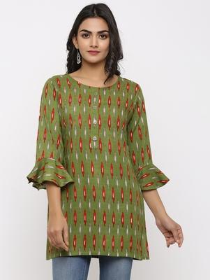 Women's Dark Green Rayon Ikat Print Mirror Work Straight Tunic Kurti