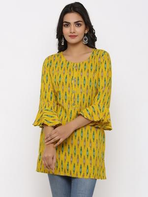 Women's Mustard Rayon Ikat Print Mirror Work Straight Tunic Kurti