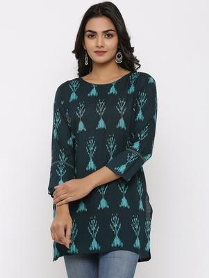 Women's Dark Green Rayon Applique Straight Tunic Kurti