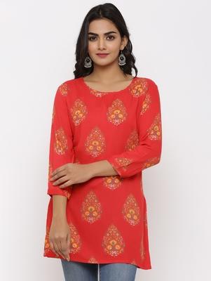Women's Pink Rayon Buta Print Straight Tunic Kurti