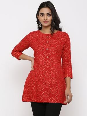 Women's Red Rayon Bandhani Print Straight Tunic Kurti