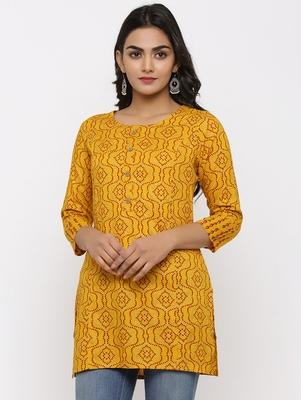 Women's Mustard Rayon Bandhani Print Straight Tunic Kurti