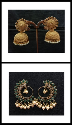 Multicolor Earrings & Jhumka Combo