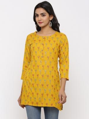Women's Mustard Rayon leaf print Straight Tunic Kurti