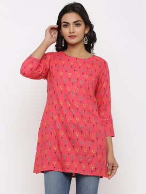 Women's Pink Rayon leaf print Straight Tunic Kurti