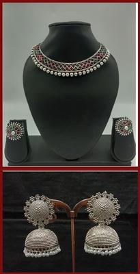 Silver Earrings & Necklace Combo