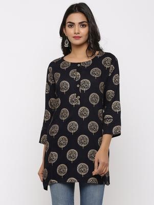 Women's Black Rayon Gold Print Straight Tunic Kurti