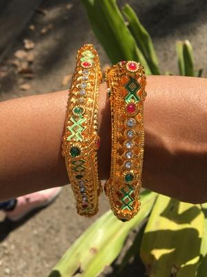 Gold Plated Multicolour Stone Studded Designer Rajwada Style Bangles Set Of 2 For Womens