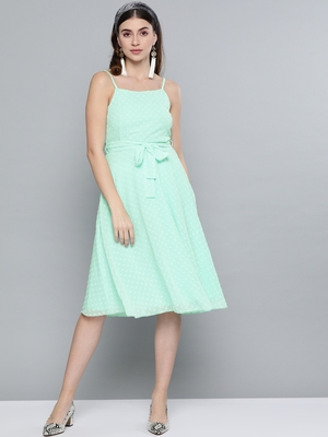 Mint Green Dobby Strappy Belted Midi Dress