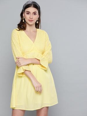 Lemon Yellow Schiffli Shift Dress