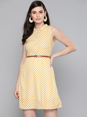Mustard Chevron A Line Belted Dress