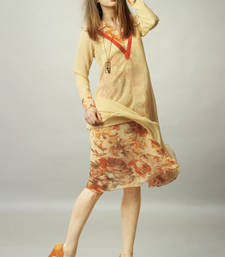 Yellow  Chiffon Georgette Printed Kurti