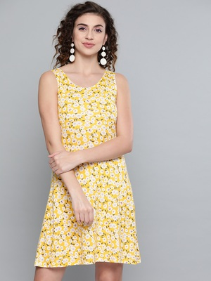 Yellow Ditsy Floral Back Knot Skater Dress