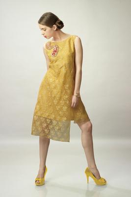 Yellow Net Jacquard Sleeveless Kurti