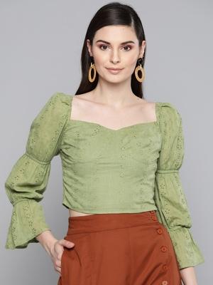 Olive Schiffli Bishop Sleeve Crop top