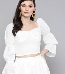 White Schiffli Bishop Sleeve Crop top