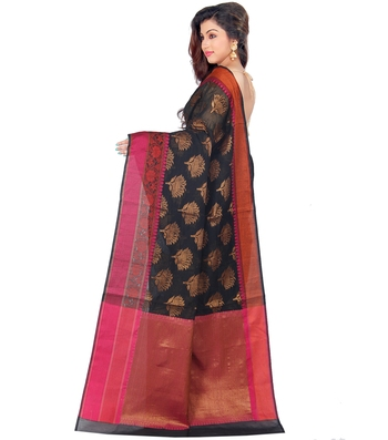 Black hand woven cotton silk saree