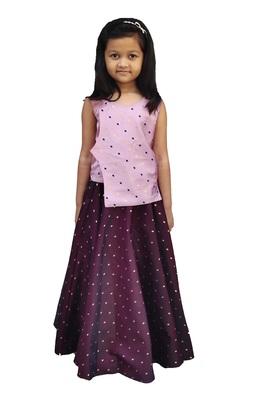 Kids Dark Pink Top And Maroon Lehenga Choli