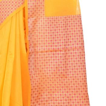yellow woven cotton silk saree
