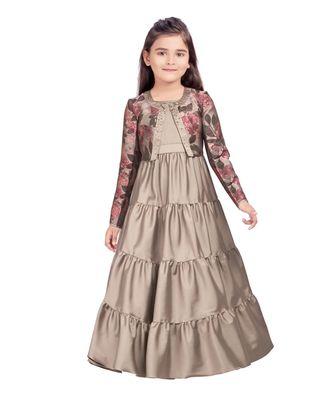 fawn plain kids girl gowns