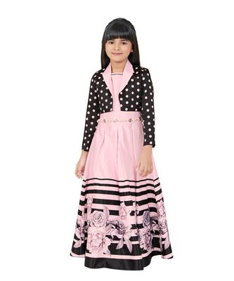 pink embroidered kids girl gowns