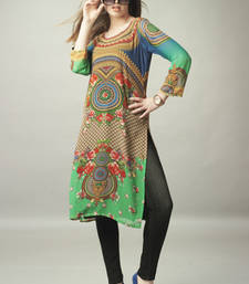 Buy Green and Blue Georgette Digital Print Pakistani Kurti pakistani-kurti online