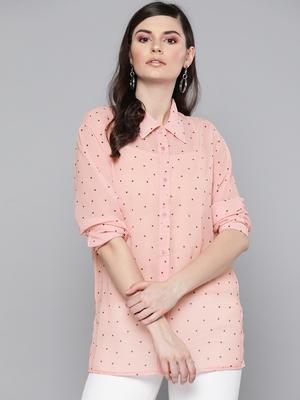 Pink Polka Dot Boxy Sheer Shirt