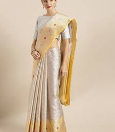 Silver woven silk blend saree with blouse